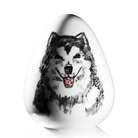 Jajko z Malamutem praca Marka Kotarby z porcelany ćmielowskiej ręcznie malowanej CJ15